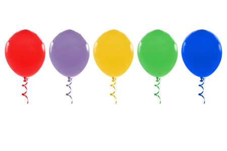 Many balloons with ribbon on white background