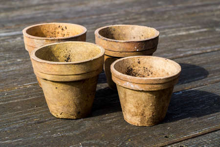 Plant pots are in the garden