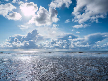 Cloudscape on the beach at the North Sea