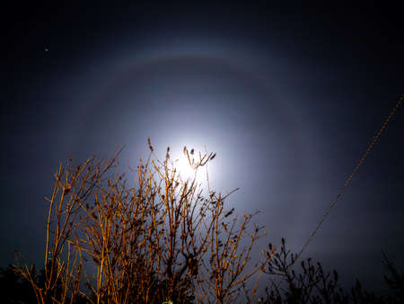 Halo ring of light around the moon