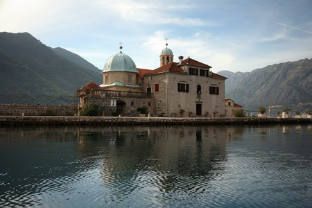 Church at island in Kotor bay, Montenegro, day