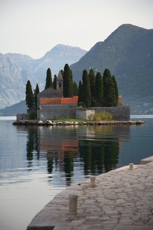 kotor: Cemetery at island in Kotor bay, Montenegro, day