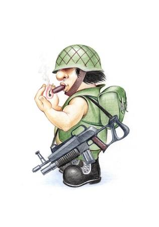 cartoon warrior: Soldier 04. Disegno a colori a matita. Scansione A4. Archivio Fotografico