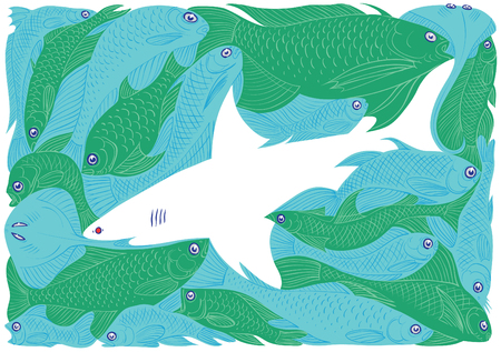 This art-work is silhouette play of fishes. Vector