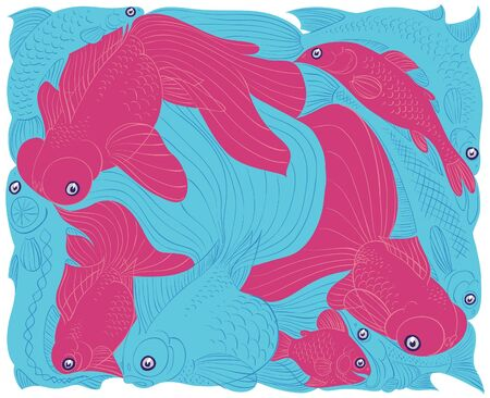 Fish graphic etude. Red and Blue