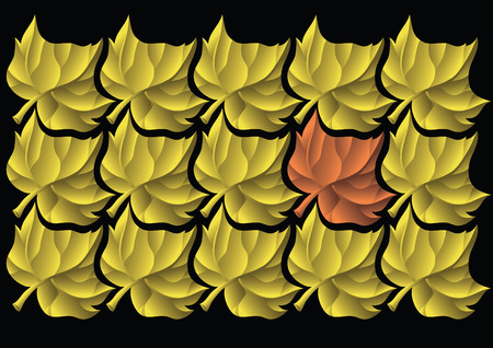 ones: One red leaf among a yellow ones. Tiled ornament.