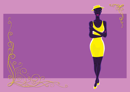 Negro ni�a en color amarillo en color violeta