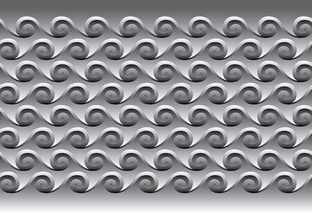 Illustration of grey waves. Tiled ornament.