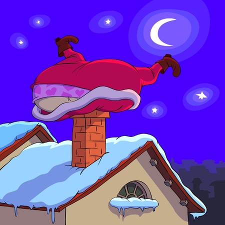 red roof: Santa Claus is trying to come through a stovepipe. Illustration