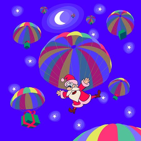 Parachute landing of Santa Clause with a Christmas gifts Illustration