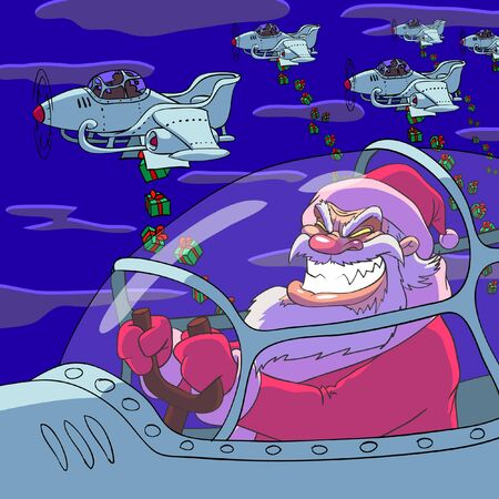 bombing: A few planes of Santa Claus are bombing by a Christmas gifts  Illustration
