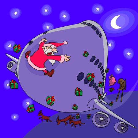 A sledge of Santa Claus is crashed by a plane  Illustration