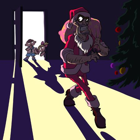 Thief dressed as Santa Claus in a child room. Illustration