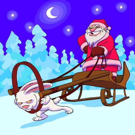 Santa Claus in sledge with hare instead of deer