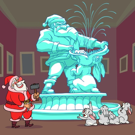 Santa Claus created the sculpture, but a rabbits are not glad to see it.