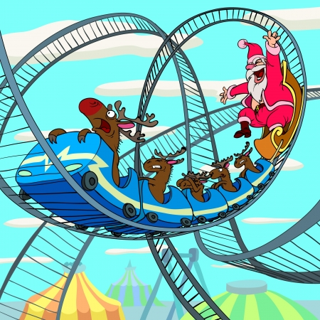 roller coaster: Happy Santa Claus and a scared deer is riding a roller coaster.  Illustration