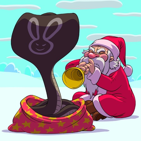 a snake in a bag: Santa Claus as a fakir is playing a trumpet to cobra Illustration