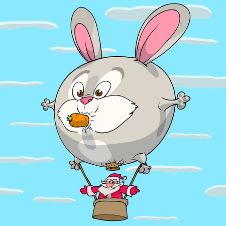 Santa Claus is flying using rabbit as a air balloon. Vector