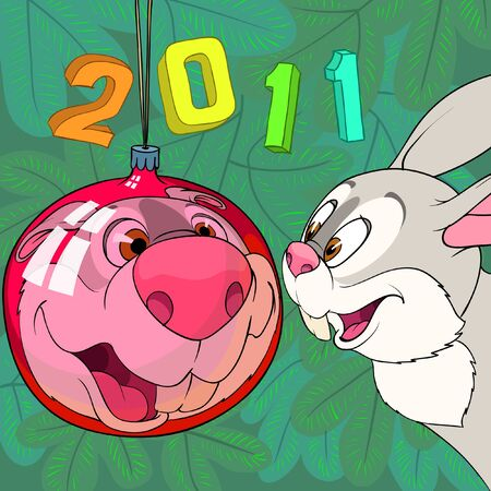 Rabbit is looking after his reflection in red Christmas ball ornament
