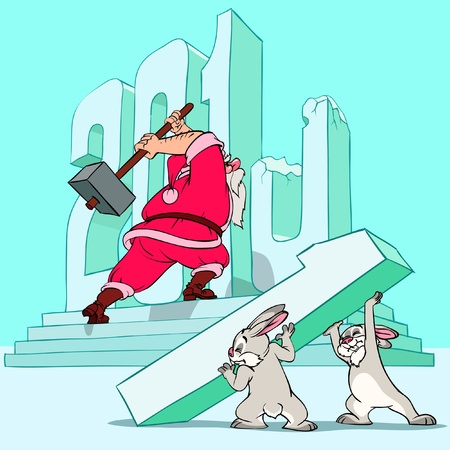 Santa Claus and rabbits are building the number of a new year. Illustration