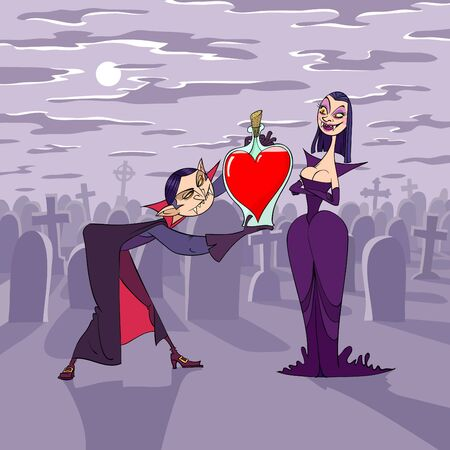 At night of Valentine's Day vampire presents a heart shaped bottle of blood to his girlfriend Stock Vector - 8511072