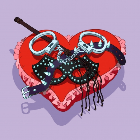 Valentines Day BDSM gift: mask, handcuffs, lash and collar are placed on the red heart shaped pad