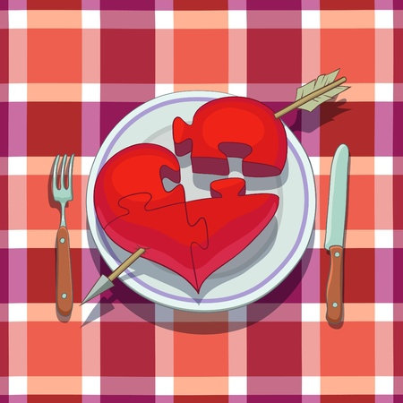subdivided: Valentines Day Lunch: heart with arrow is placed on plate and is subdivided like a puzzle, a fork and a knife are near the plate.