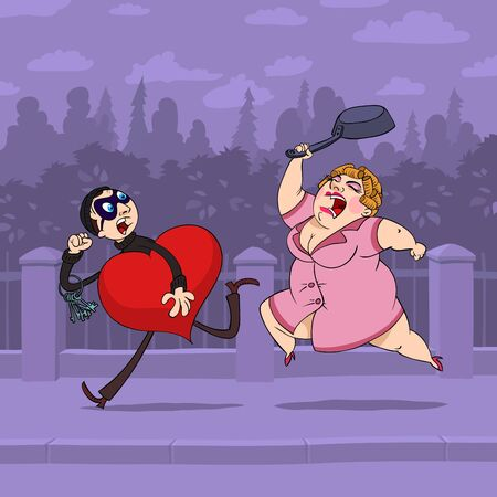 escape key: At Valentines Day thief steals a heart of a woman and escapes from her, and she follows him with a pan. Illustration