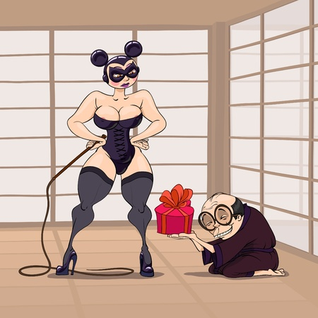 thongs: At Valentines Day a Japanese take a gift to a BDSM dressed girl with a thong Illustration