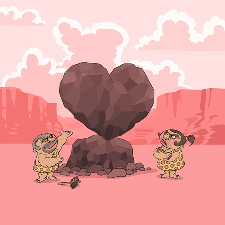 At Valentines Day a man of Stone Age presents his girlfriend a big heart shaped stone
