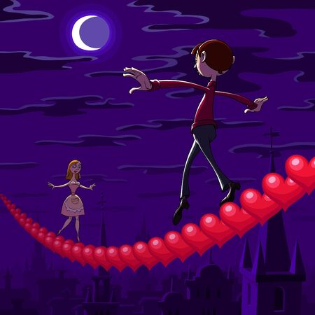 At Valentine's night a balancing boy and girl goes toward each other on row of red hearts hanging over the town. Stock Vector - 8622508