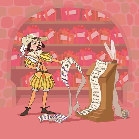 At eve of Valentines Day Don Juan tries to collect full set of presents for all his loving women Illustration