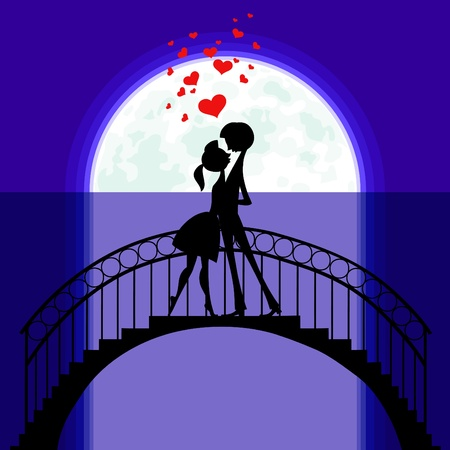 Silhouettes on the Moon of two lovers staying on a bridge and flying hearts over them. Vector