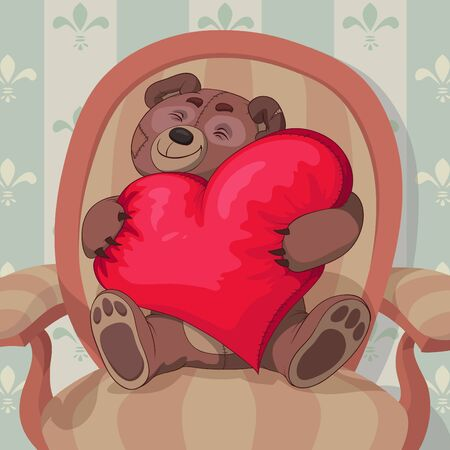 Teddy bear is sitting in armchair with a red heart shaped pillow in his hand Vector