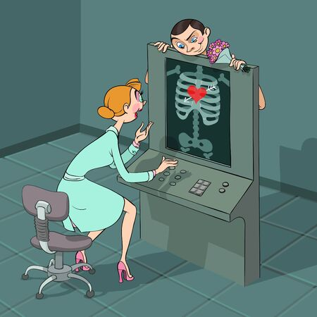 At Valentines Day a boy comes to his girlfriend at X-ray observe which shows heart falling in love in his breast Illustration