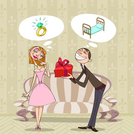 red couch: A s. Valentino, un ragazzo presenta un regalo alla sua ragazza, ma hanno piuttosto diversi pensieri riguardanti essa. Vettoriali
