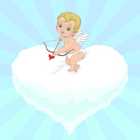 At Valentines Day Cupid is aiming to shoot his arrow sitting on the heart shaped cloud
