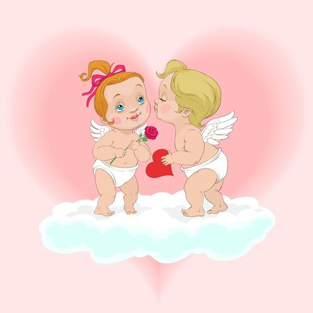 At Valentines Day an angel boy kisses an angel girl and presents a heart to her
