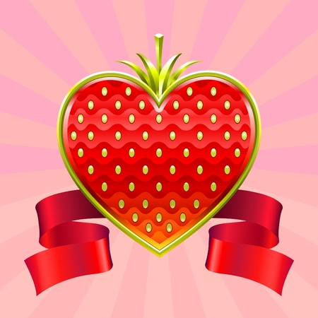 Jewelry Valentine red strawberry edged by gold with a ribbon