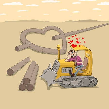 Tractor driver is falling in love and dreaming of his girlfriend