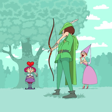 aim: At Valentines Day for Marion to be entertained Robin Hood shoots a heart on head of a little boy Illustration