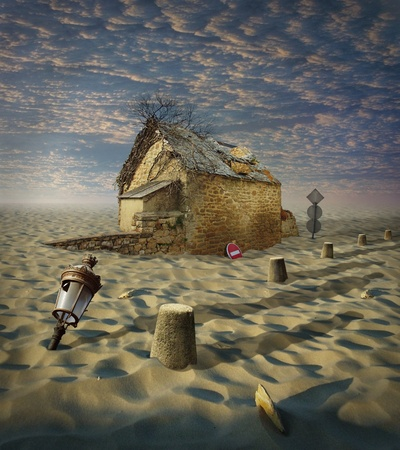 Lost in Desert, photocollage (a lot of my shots as a source). Old house in sands. Stock Photo