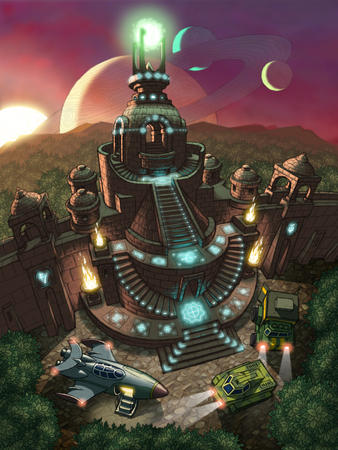 Fantactic landscape  Space rocket and two cars exploring old temple at a planet in space