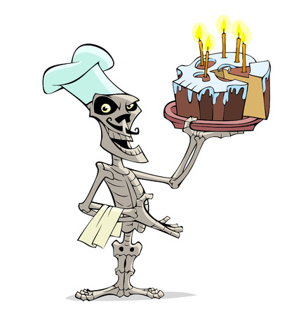 Danse Macabre. Skeleton cook and cake with candles in his hand.