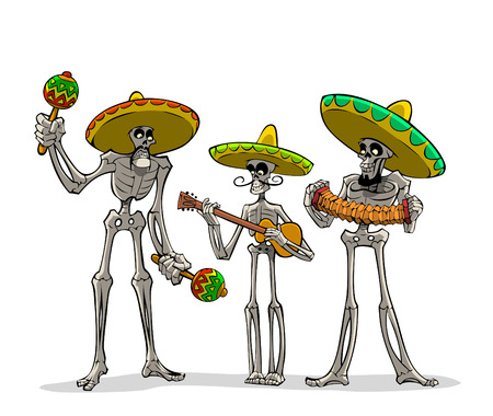 Danse Macabre. Three mexican skeletons with instruments play musics.