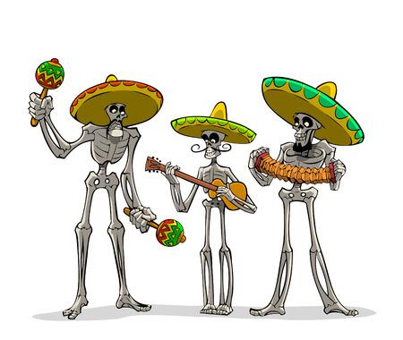sombrero de charro: Danse Macabre. Tres esqueletos mexicanos con instrumentos tocan músicas.