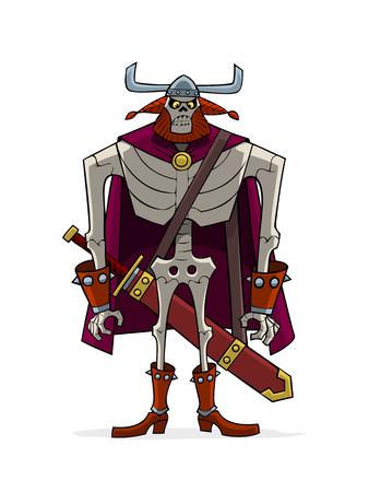 Viking skeleton in helm with horn.
