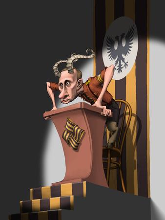 Horned Russian president Vladimir Putin standing in brown shirt on the podium