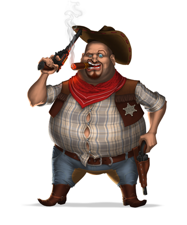 Sheriff smokes cigar and lifts up his hat by revolver. Isolated