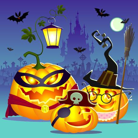 Halloween happy family of pumpkins.  Illustration